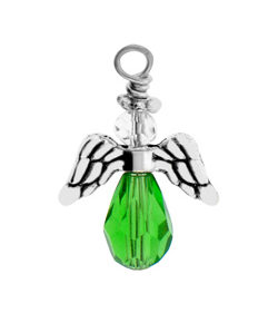 Sm Pewter Peridot Crystal Angel Image