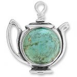 Large Teapot Charm With Turquoise Bead Image