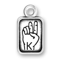 Sign Language Letter K Charm Image