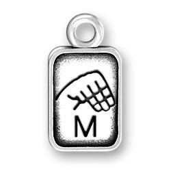 Sign Language Letter M Charm Image