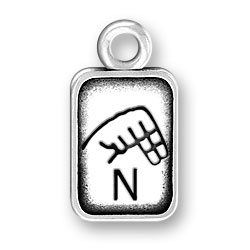 Sign Language Letter N Charm Image