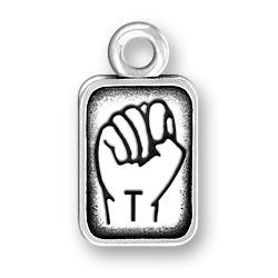 Sign Language Letter T Charm Image