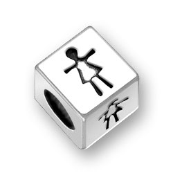 45mm Square Girl Symbol Bead Image