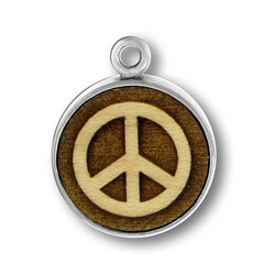 Wooden Peace Sign Charm Image