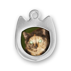 Cat Picture Frame Charm Engraved Image