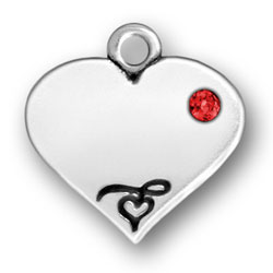 Heart With Red Crystal Engraved Image