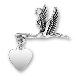 Stork Charm With Engraved Heart Image