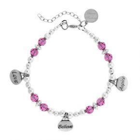 Personalized Love Believe Aspire Beaded Bracelet Image