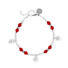 Personalized Red Crystal Beaded Bracelet Wsterling Silver Hearts Image