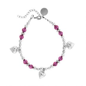 Personalized Pink Crystal Beaded Bracelet Wsterling Silver Hearts Image