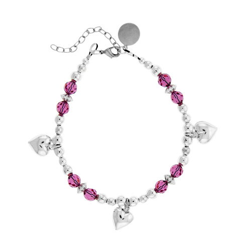 Personalized Pink Crystal Beaded Bracelet