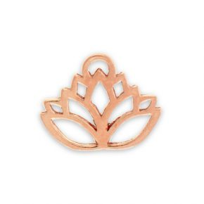 Rose Gold Plated Pewter Lotus Flower Charm Image