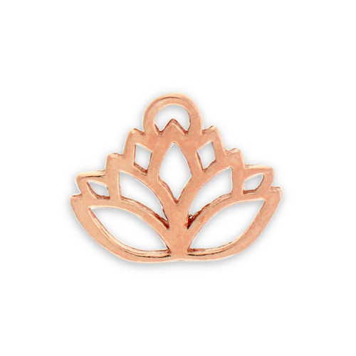 Rose Gold Plated Pewter Lotus Flower Charm Charm Factory