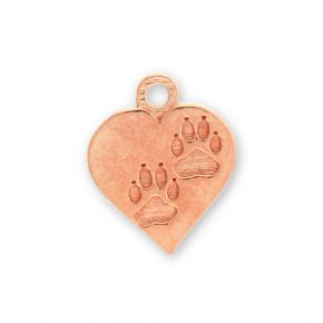Rose Gold Plated Pewter Heart With Paw Prints Image