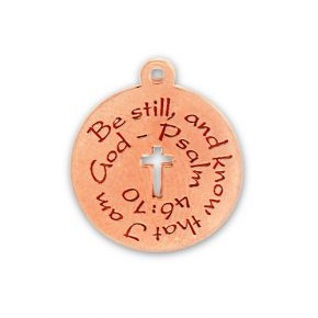 Rose Gold Plated Pewter Be Still And Know That I Am God Image