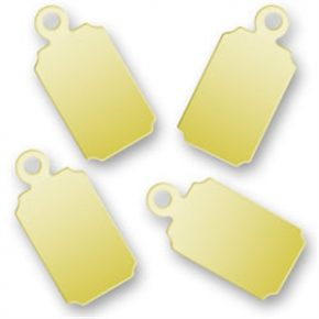 Engraved Gold Rectangular Tags 67mm X 137mm Image